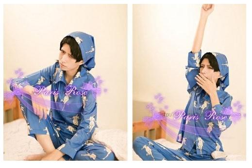 画像(コスプレ衣装 『進撃の巨人』リヴァイ のパジャマ姿 COS/COSPLAY)1