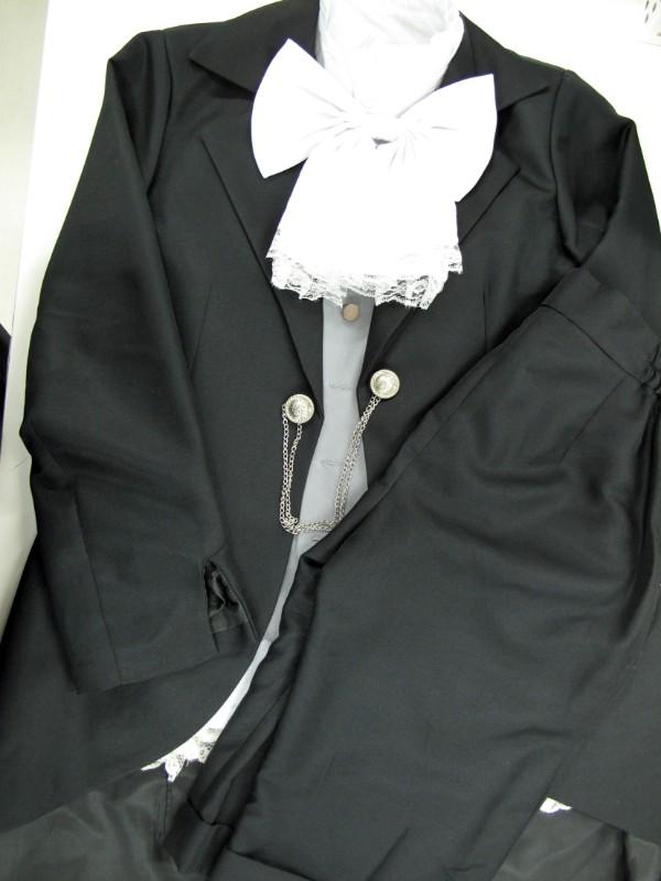 ◆コスプレ衣装◆黒執事・Book of/シエルファントムハイブ・夜会(黒)・眼帯+帽子付・シャツ汚れ(女性M)【中古】