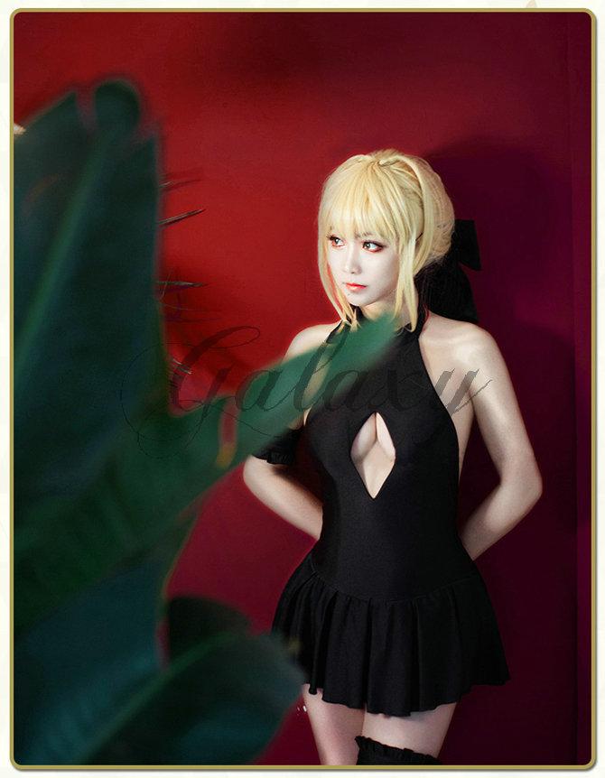 画像(Fate Grand Order FGO 黒saber セイバー風 スクール 水着Ver. アルトリア・ペンドラゴン コスプレ衣装 wow491)1